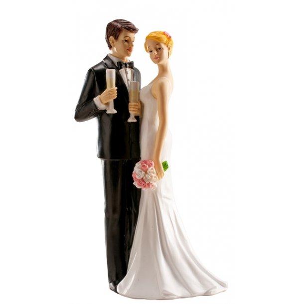 Brudepar med champagne 16cm