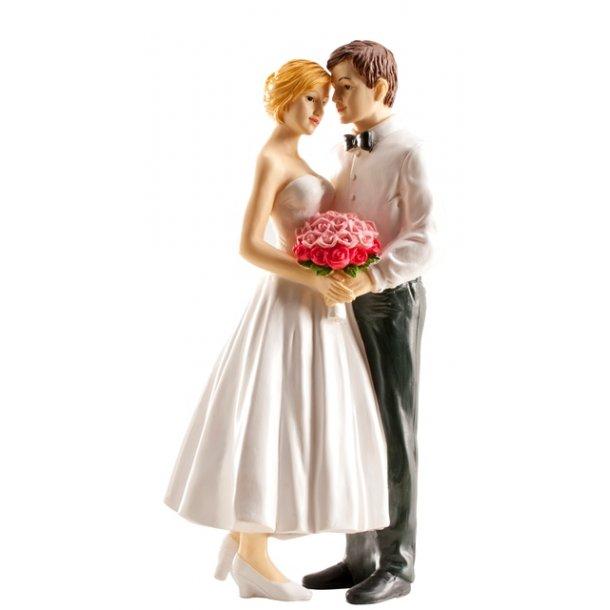 Brudepar brud i fyldig kjole 16cm