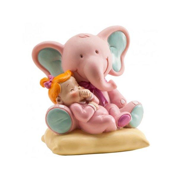 Lyserød elefant med Babypige 10cm