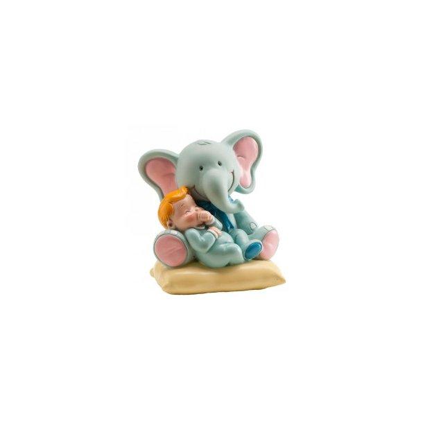 Lyseblå elefant med babydreng 10cm