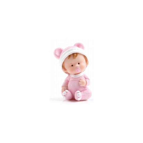 Baby pige holder sig på maven - H8cm