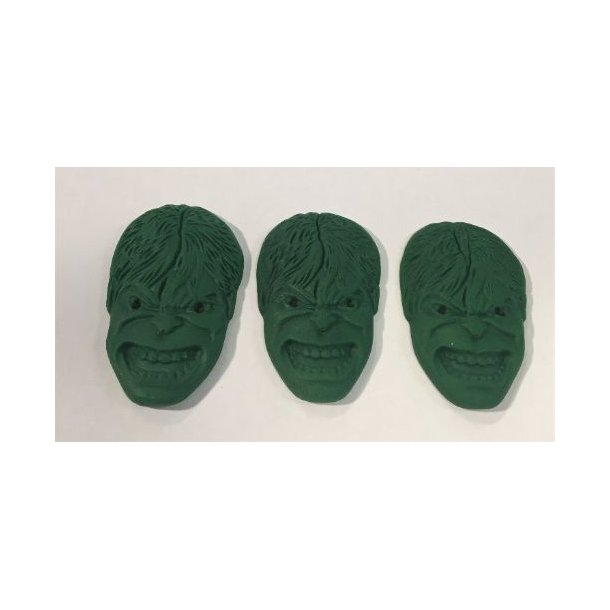 Hulk ansigter i dekorfondant - 3 stk