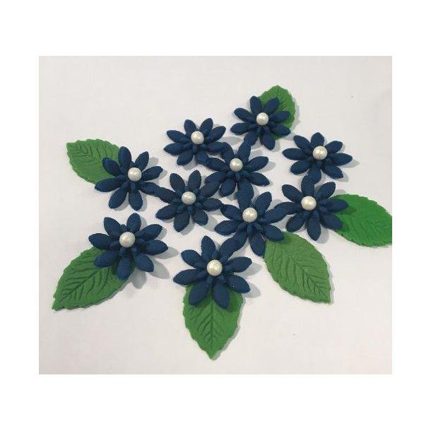 Medium spidsbladede blomster - Mørkeblå 10 stk. med lidt blade og perle i centrum