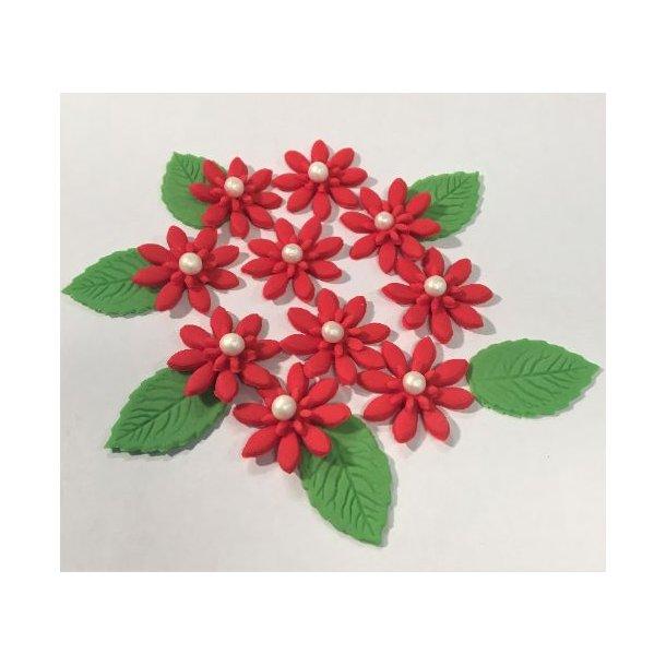 Medium spidsbladede blomster - Røde 10 stk. med lidt blade og perle i centrum