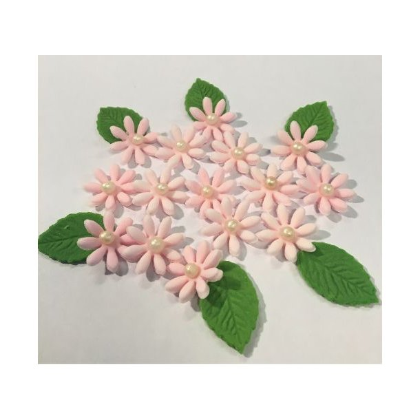 Små spidsbladede blomster - Lyserøde ca. 12-16 stk. med lidt blade og perle i centrum