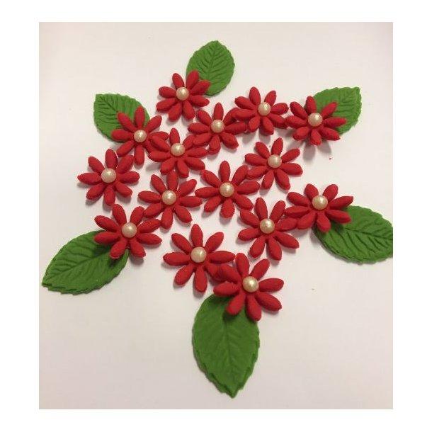 Små spidsbladede blomster - Røde ca. 12-16 stk. med lidt blade og perle i centrum