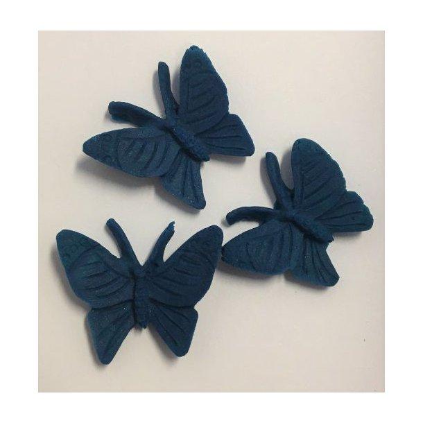 Sommerfugle i dekorfondant - Mørkeblå 3 stk.