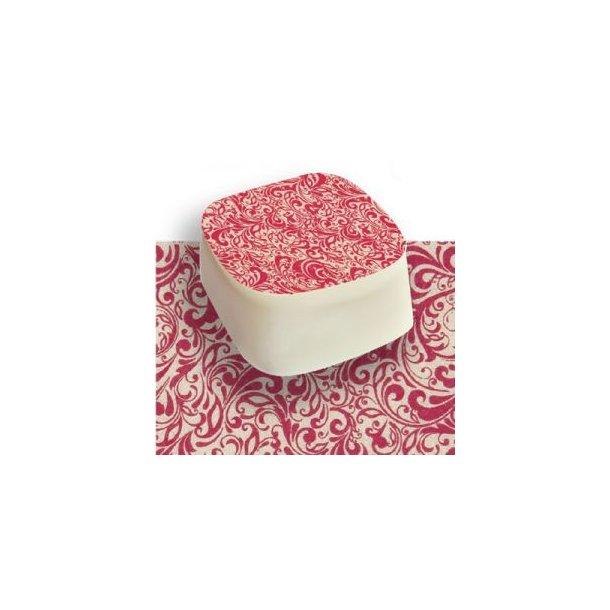 Chokolade Transfer sheet Sølv/hindbærrødt sjalsmønster 25*40cm