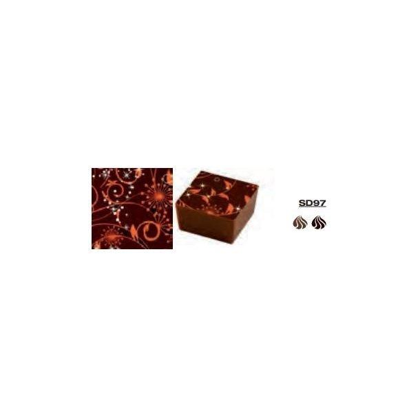 Chokolade Transfer Sheets orange blomster 25*40cm