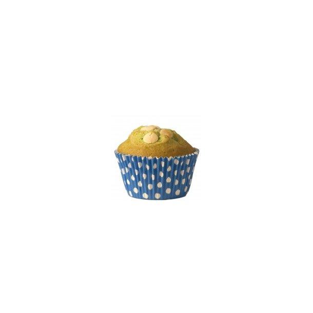 Cupcake papforme Maxi Blå Med Polka Prikker 24 stk.