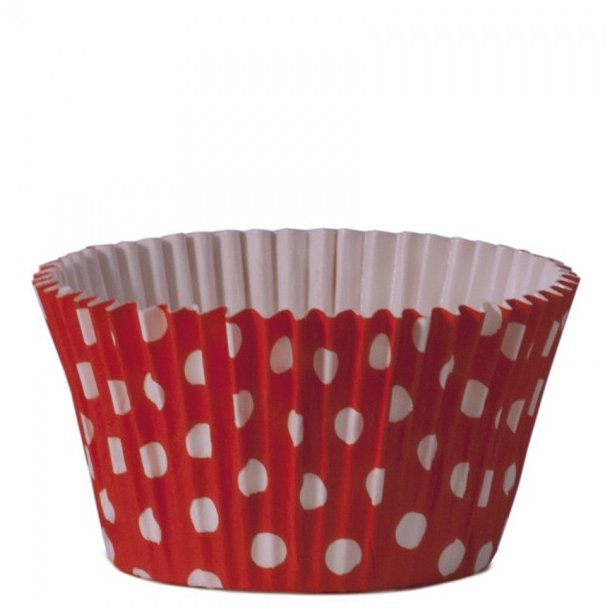 Cupcake papforme Maxi Rød med Polka Prikker 24 stk.