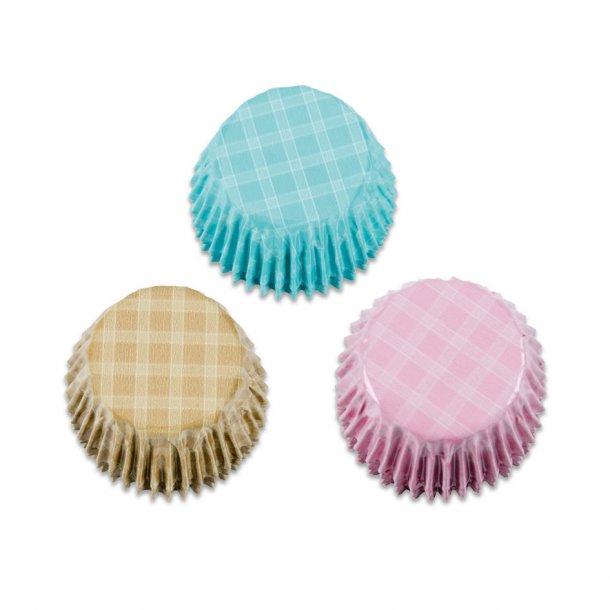 Pralin kapsler i alu - pastel blå, pink og brun